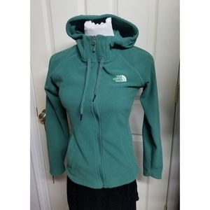 The North Face green zip up fleece sweatshirt